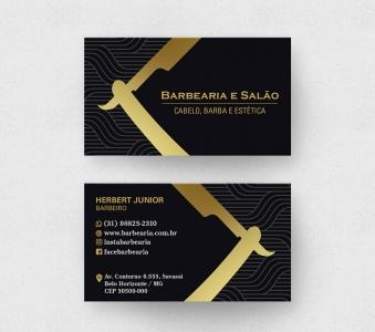Cartão de Visita Barbearia 2 – Laminação fosca e verniz UV localizado