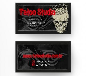 Cartão de Visita Tatuagem – Laminação fosca e verniz UV localizado
