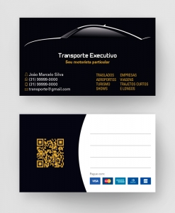 Cartão de Visita Transporte Executivo 2 – Laminação fosca e verniz UV localizado