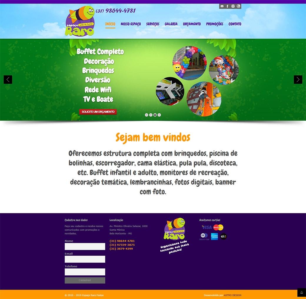 Website Espaço Raro Festas