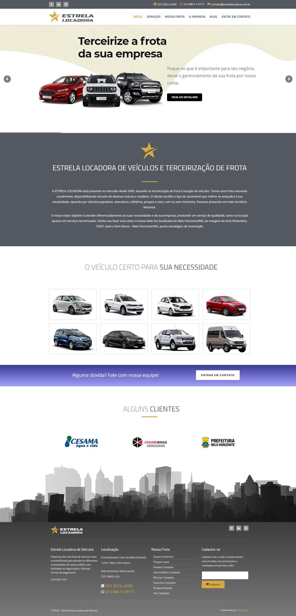 Website Estrela Locadora de Veículos